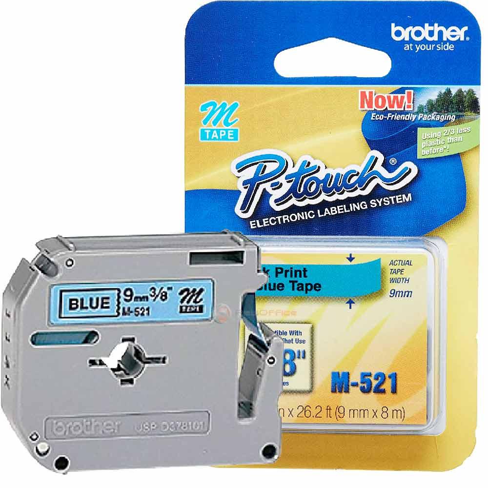 Fita p/ Rotulador M521 9mm Preto sobre Azul Brother