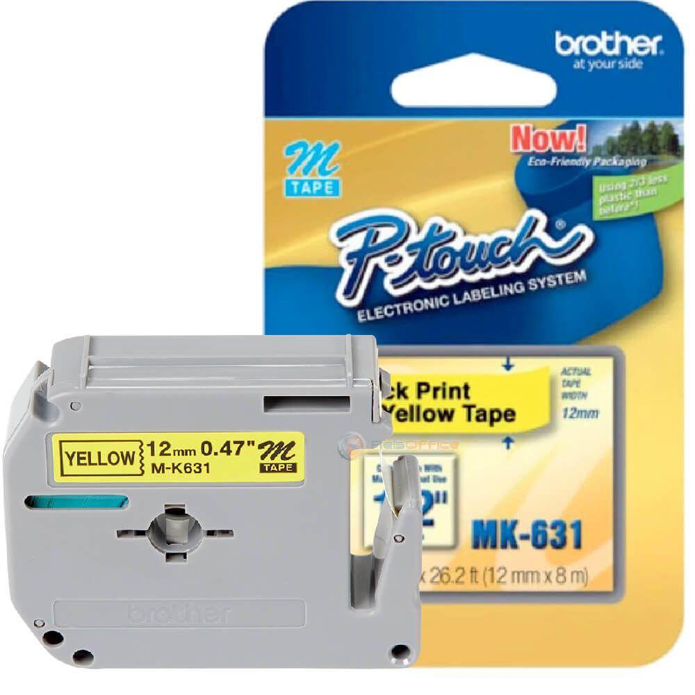 Fita p/ Rotulador MK631 12mm Preto sobre Amarelo Brother