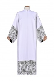 Pleats Liturgical Lace Tunic PX 30cm Lining Black TU023