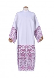 Pleats Liturgical Lace Tunic PX 60 cm Lining Violaceous TU024