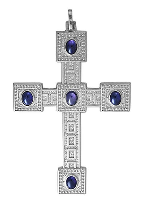 Cruz Peitoral de Prata Maciça com Pedras Preciosas CP1016
