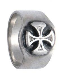 Anel de Prata artesanal com Cruz Malta A1013