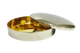 Caixa para Hóstia Lisa Cromada com Dourado Interno 15,5 cm