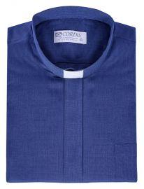 Camisa Clerical Tradicional Azul Mescla Manga Curta