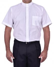 Camisa Clerical Romana Manga Curta Branca CT167