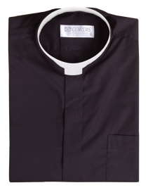Camisa Clerical Romana Manga Curta Preta CT167