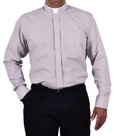 Camisa Clerical Romana Manga Longa Cinza CT168