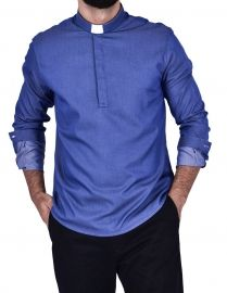 Camisa Clerical Slim Young Priest Denim