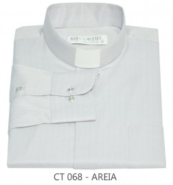 Camisa Clerical Tradicional Areia Manga Longa