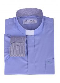 Camisa Clerical Tradicional Azul Detalhe Manga Longa