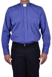 Camisa Clerical Tradicional Azul Mescla Manga Longa CT068