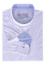 Camisa Clerical Tradicional Branco Detalhe Manga Longa