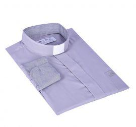 Camisa Clerical Tradicional Cinza Detalhe Manga Longa