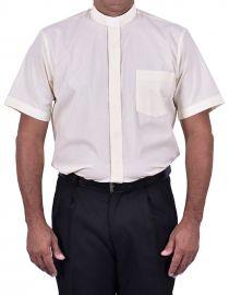 Camisa Clerical Tradicional Manga Curta Bege