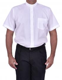 Camisa Clerical Tradicional Manga Curta Branca CT067