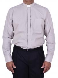 Camisa Clerical Tradicional Manga Longa Cinza CT068