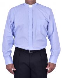 Camisa Clerical Tradicional Manga Longa Azul