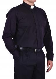 Camisa Clerical Tradicional Manga Longa Preta CT068