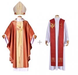 Coleção Pentecostes com Casula, Estola Sacerdotal e Mitra