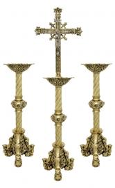Conjunto Crucifixo e Castiçal 143 com 2 Castiçais e 1 Crucifixo
