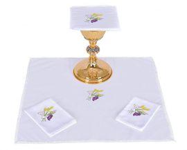Conjunto de Altar Algodão Cálice Trigo e Uva B010