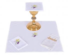 Conjunto de Altar Algodão Cálice Trigo e Uva CA115