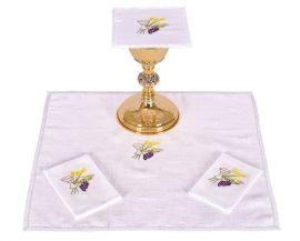Conjunto de Altar Linho Cálice Trigo e Uva B010