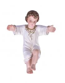 Imagem Menino Jesus Tradicional Manto Branco Gesso 15 cm