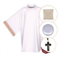 Kit Para Ministro 065 com Veste, Bolsa Viático e Teca + Crucifixo (brinde)