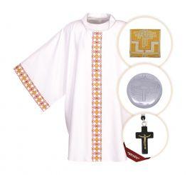 Kit Para Ministro 165 com Veste, Bolsa Viático e Teca + Crucifixo (brinde)