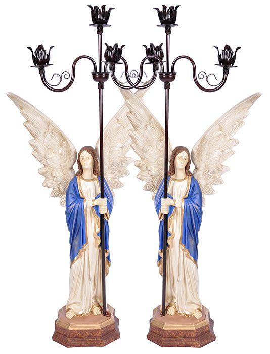 Imagem Par de Anjos com Candelabro Resina 115 cm