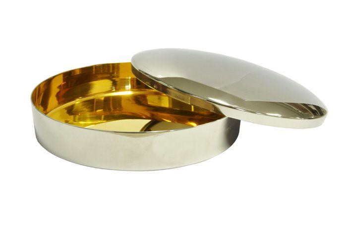 Caixa para Hóstia Lisa Cromada com Dourado Interno 17,5 cm