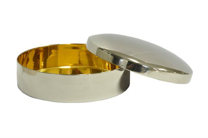 Caixa Hóstia Lisa Cromada com Dourado Interno - 9,8 cm