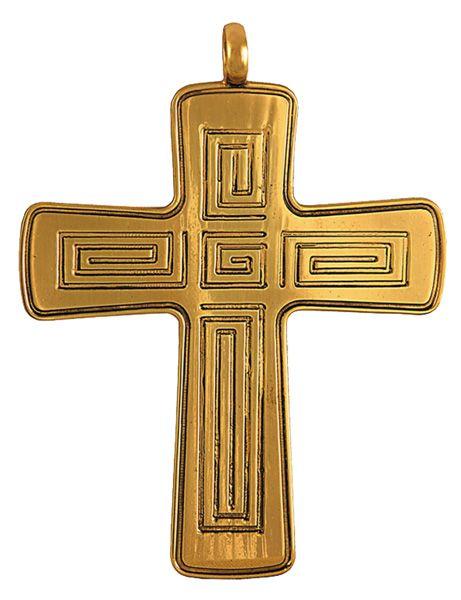 Cruz Peitoral Prata Dourada C3