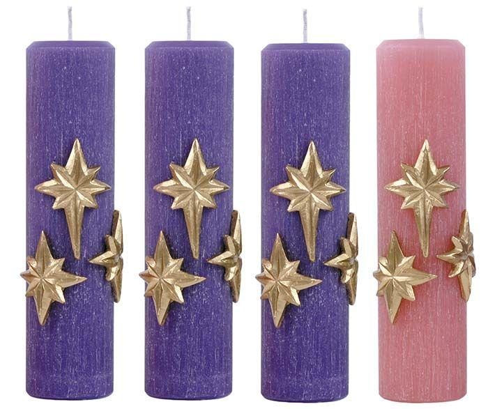 Kit Velas Advento Estrela 2 Cores 25 x 7