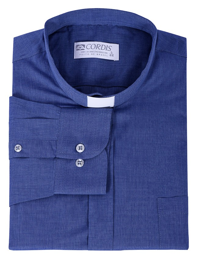 Camisa Clerical Tradicional Azul Mescla Manga Longa