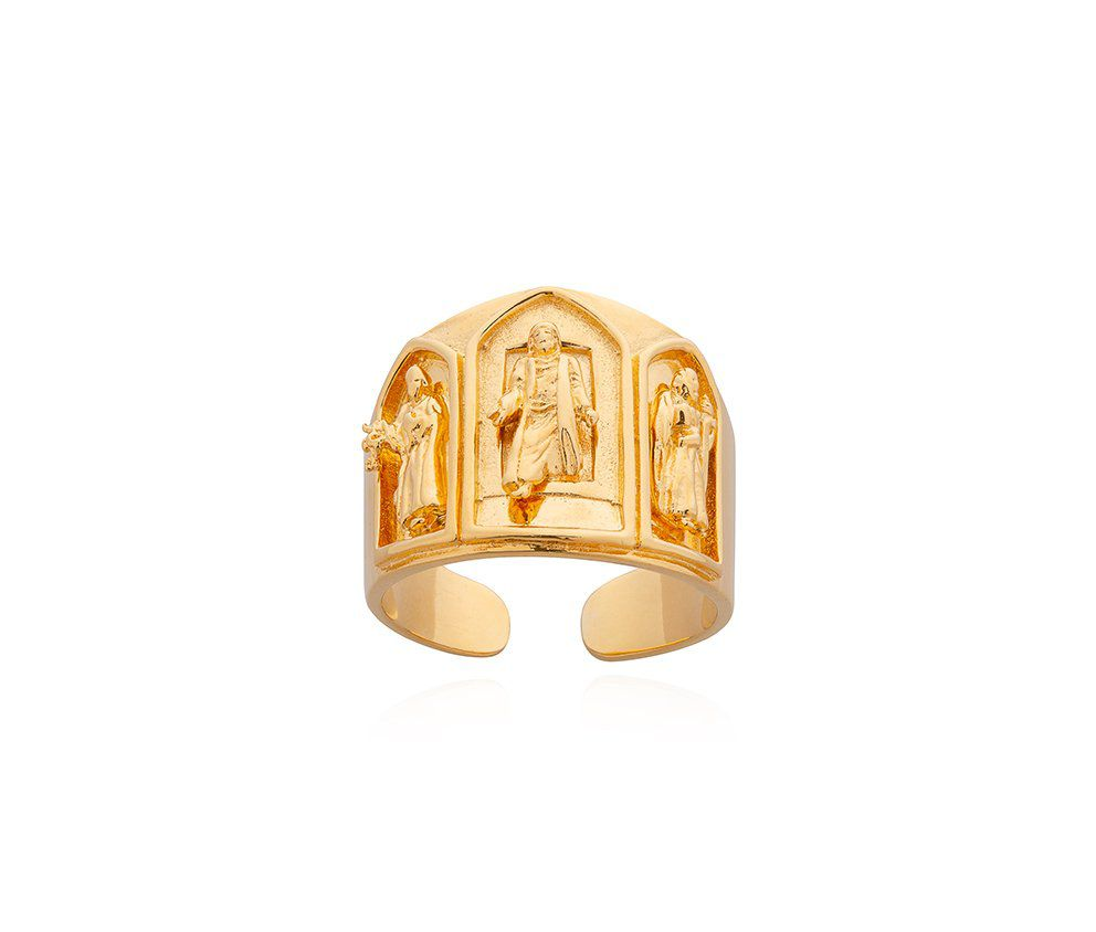 Anel Bispo Dourado Natural F11