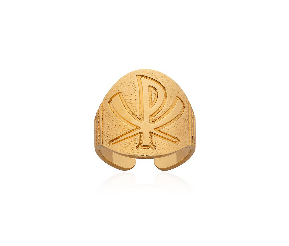 Anel Bispo Prata Dourado C4