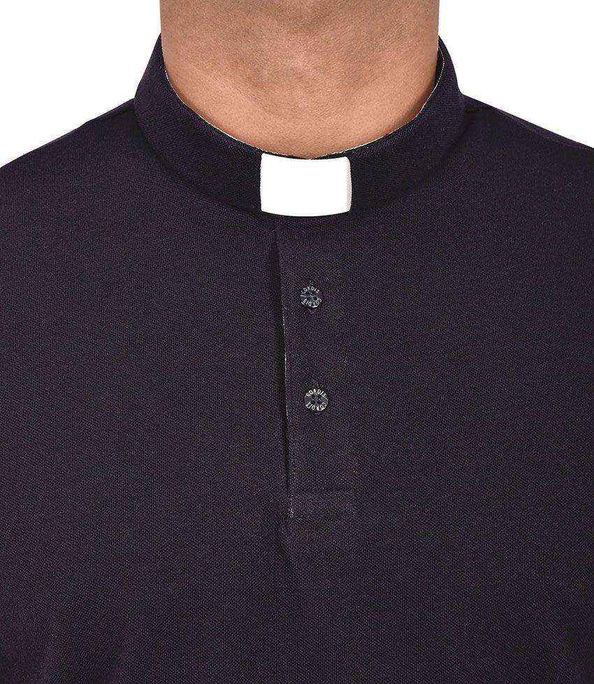 Camisa Clerical Estilo Polo Preta PL001