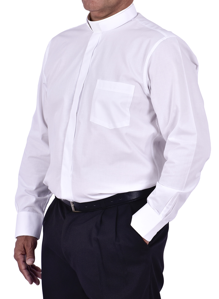 Camisa Clerical Romana Manga Longa Branca CT168