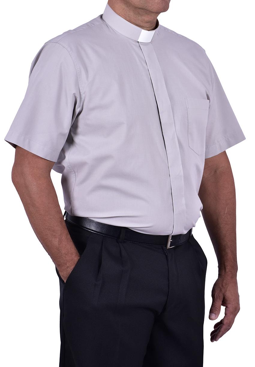 Camisa Clerical Tradicional Manga Curta Cinza CT067