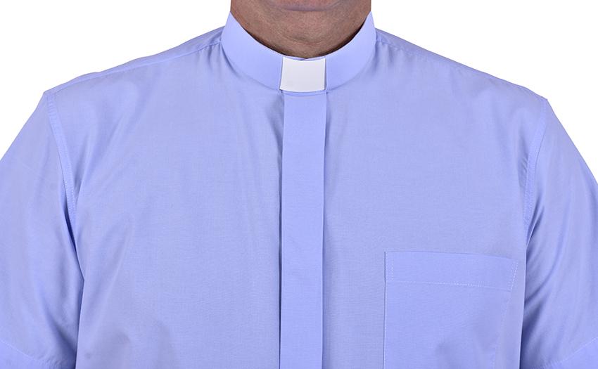 Camisa Clerical Tradicional Manga Curta Azul