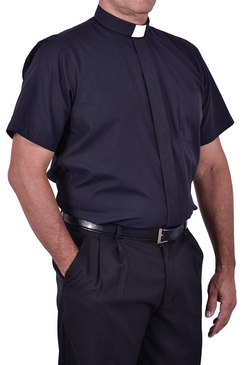 Camisa Clerical Tradicional Manga Curta Preta CT067