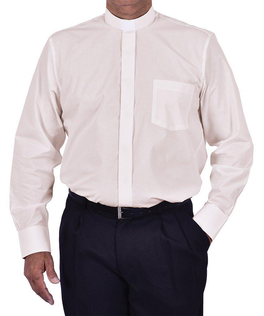 Camisa Clerical Tradicional Manga Longa Bege