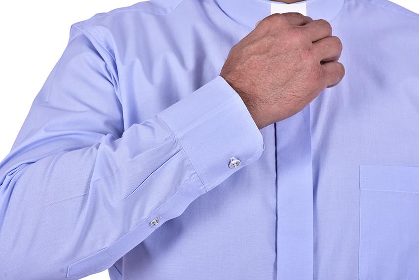 Camisa Clerical Tradicional Manga Longa Azul CT068