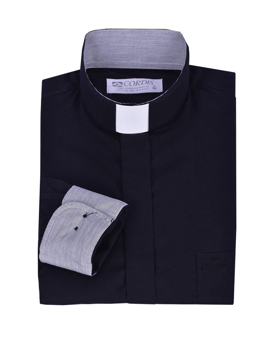 Camisa Clerical Tradicional Preta Detalhe Manga Longa