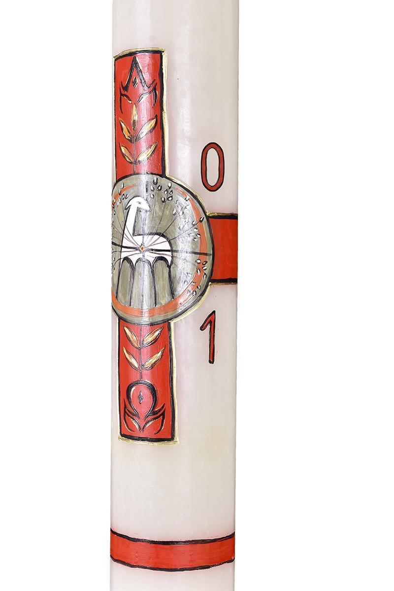 Círio Pascal Decoração Artesanal 2021 Branco 92x9,5cm