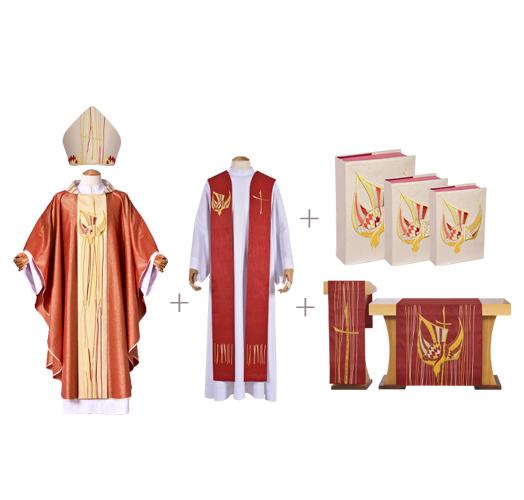 Coleção Pentecostes com Casula, Estola Sacerdotal, Mitra, Véus de Altar e Capas de Livros