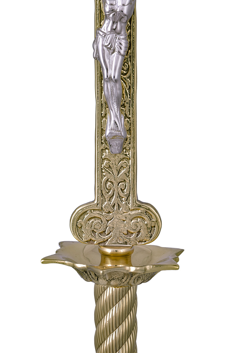 Conjunto Crucifixo e Castiçal 140 com 6 Castiçais e 1 Crucifixo
