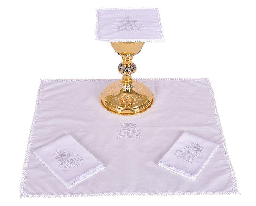 Conjunto de Altar Algodão Bordado Peixe e Pão B009